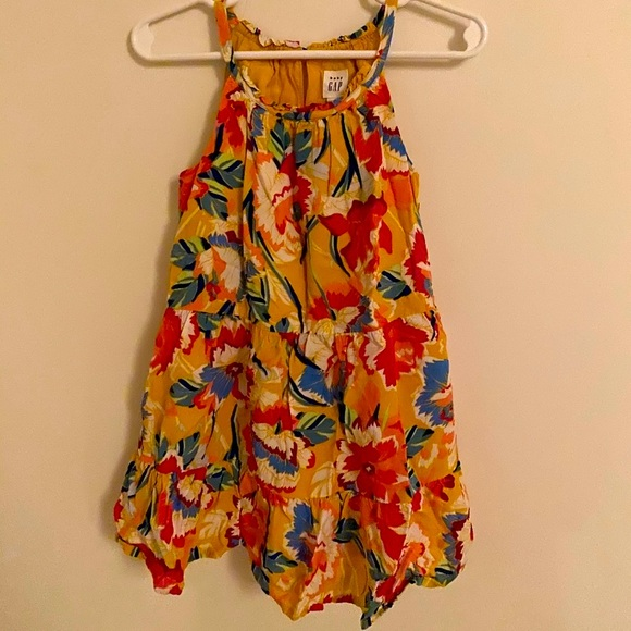 Gap baby yellow faux halter floral dress EUC